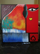 PEACE AND LOVE - acrylic on canvas. A gift.
